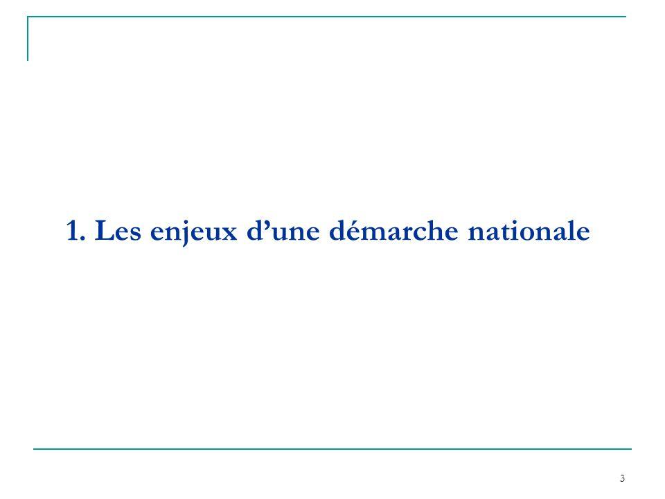 1. Les enjeux d'une démarche nationale