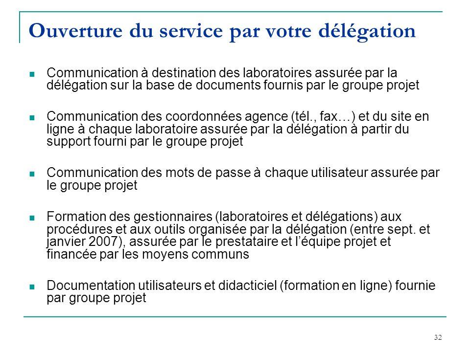 Ouverture du service par votre délégation