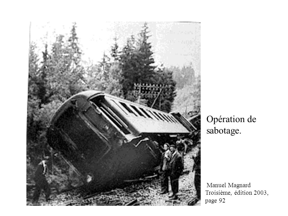 Opération de sabotage. Manuel Magnard Troisième, édition 2003, page 92