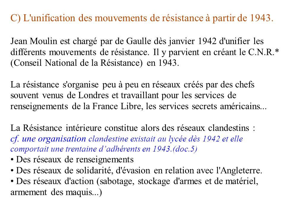 C) L unification des mouvements de résistance à partir de 1943.