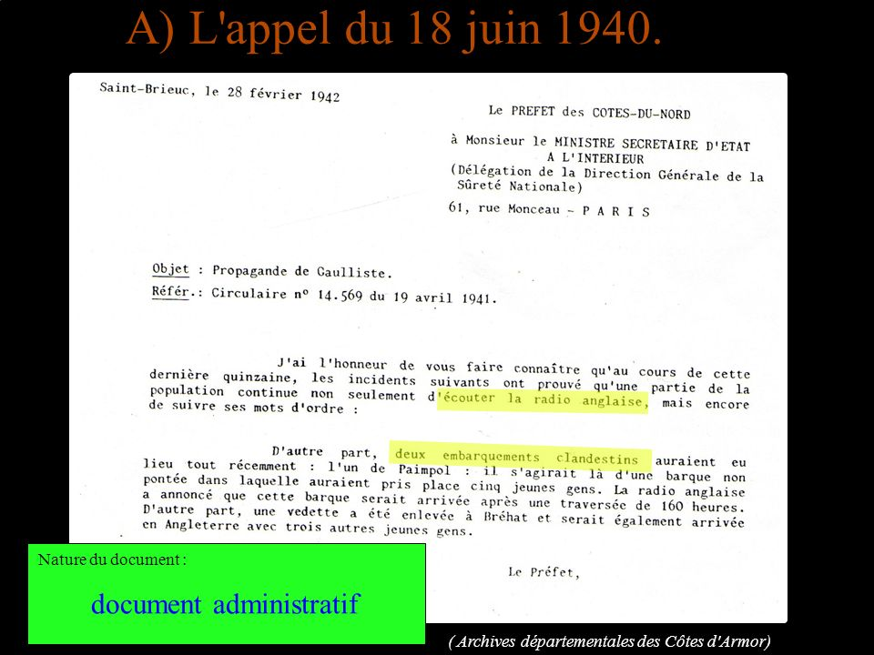 A) L appel du 18 juin 1940. document administratif