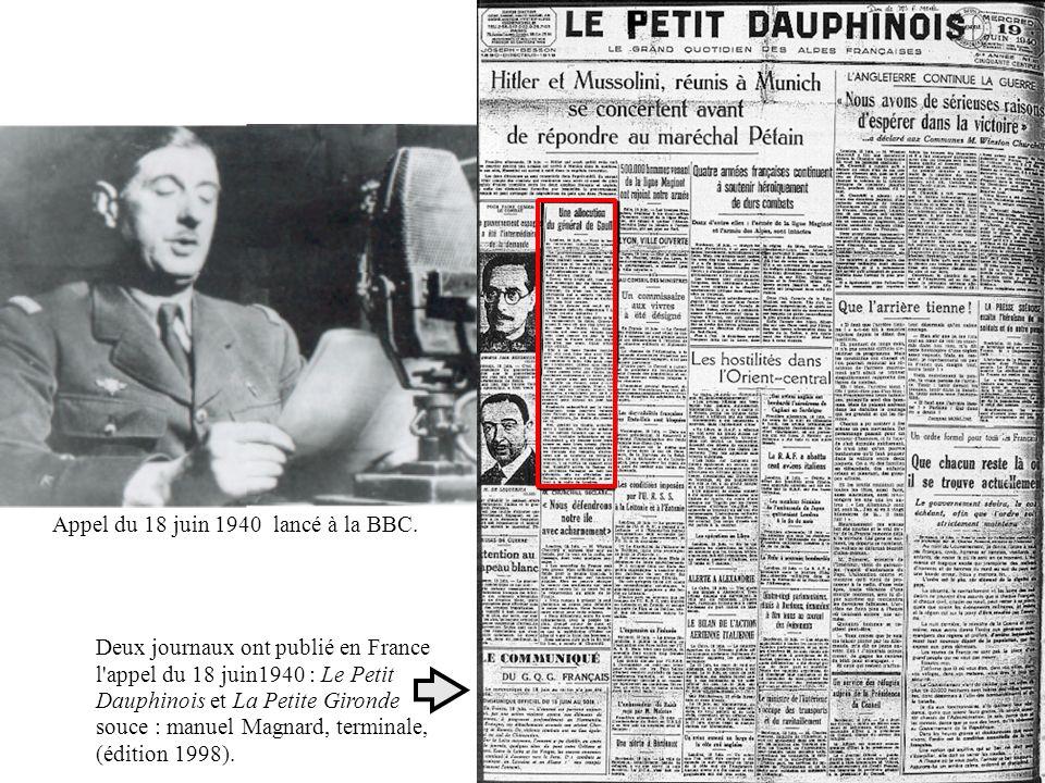 Appel du 18 juin 1940 lancé à la BBC.