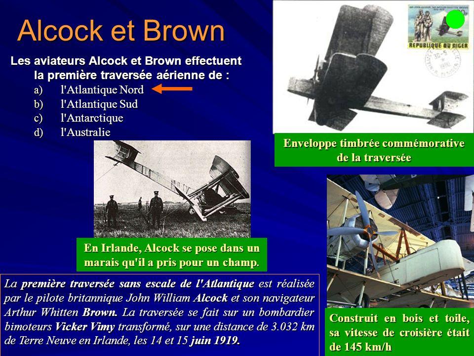Alcock et Brown Les aviateurs Alcock et Brown effectuent la première traversée aérienne de : l Atlantique Nord.