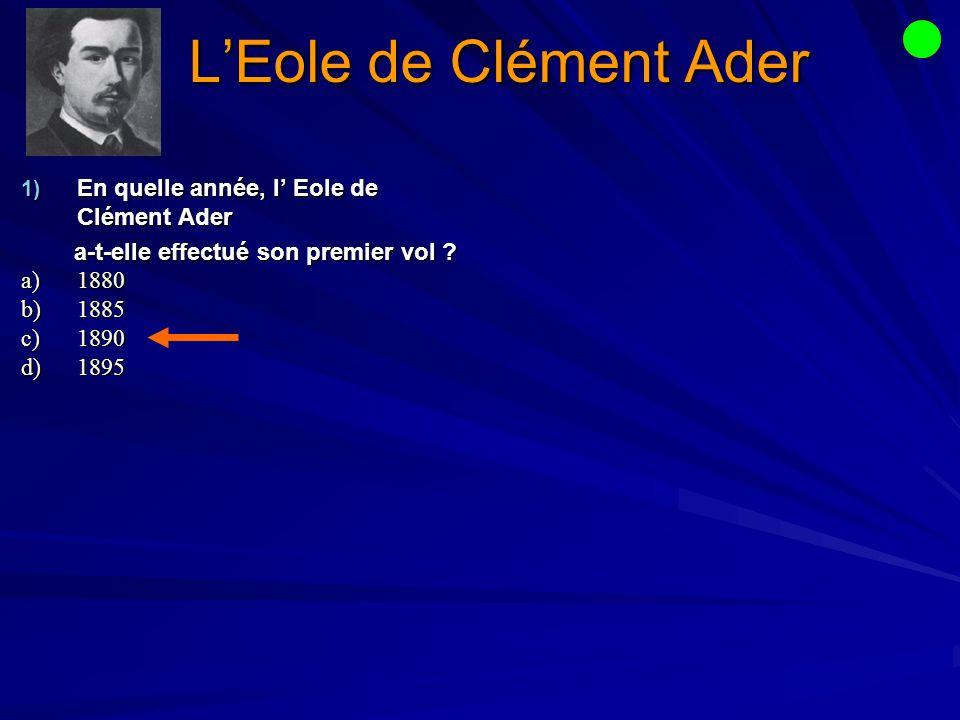 L'Eole de Clément Ader En quelle année, l' Eole de Clément Ader