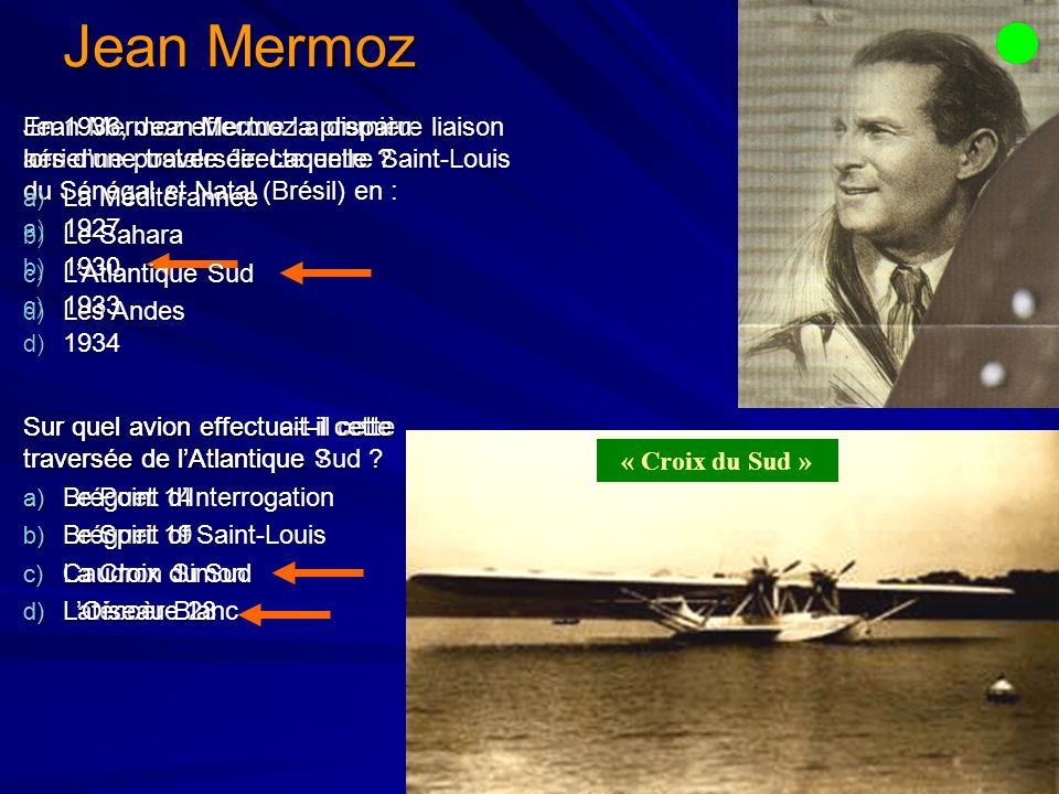 Jean Mermoz En 1936, Jean Mermoz a disparu lors d'une traversée. Laquelle La Méditérannée. Le Sahara.