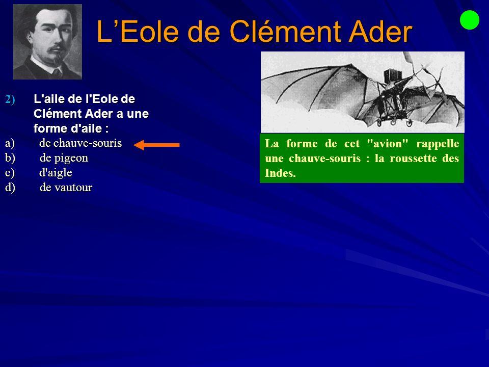 L'Eole de Clément Ader 2) L aile de l Eole de Clément Ader a une forme d aile : a) de chauve-souris.