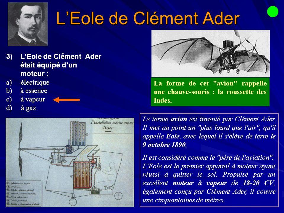 L'Eole de Clément Ader L'Eole de Clément Ader était équipé d'un moteur : a) électrique. à essence.