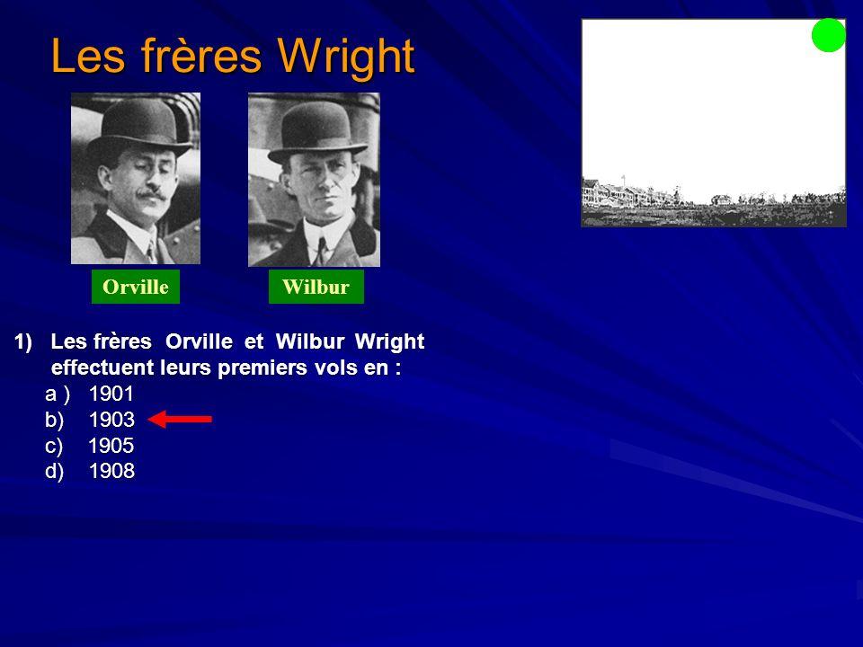 Les frères Wright Orville Wilbur effectuent leurs premiers vols en :