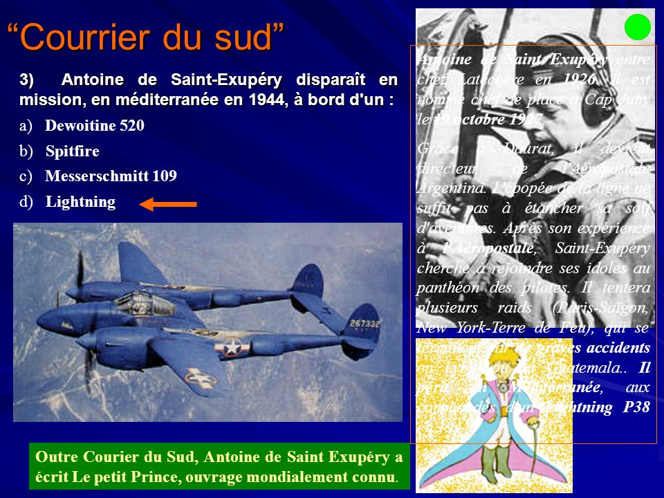 Courrier du sud Antoine de Saint Exupéry entre chez Latécoére en 1926. Il est nommé chef de place à Cap Juby le 19 octobre 1927.