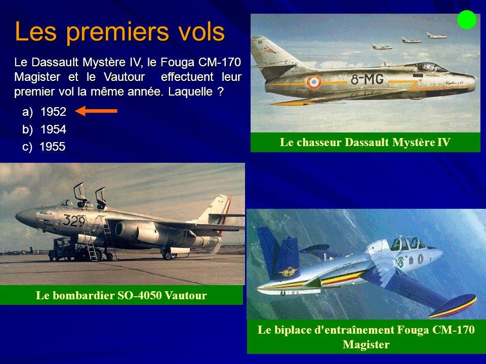 Les premiers vols Le Dassault Mystère IV, le Fouga CM-170 Magister et le Vautour effectuent leur premier vol la même année. Laquelle