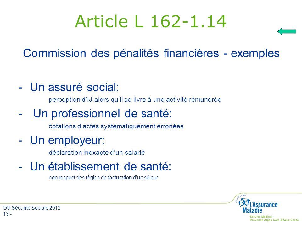 Commission des pénalités financières - exemples