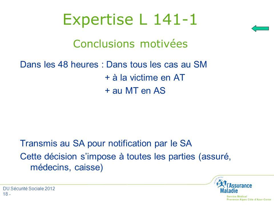 Expertise L 141-1 Conclusions motivées