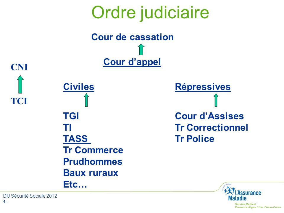 Ordre judiciaire Cour de cassation Cour d'appel Civiles Répressives