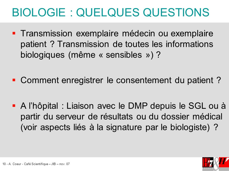 BIOLOGIE : QUELQUES QUESTIONS