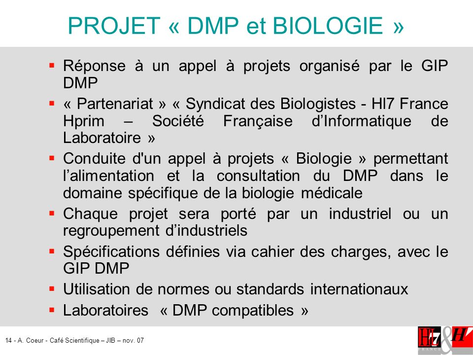 PROJET « DMP et BIOLOGIE »