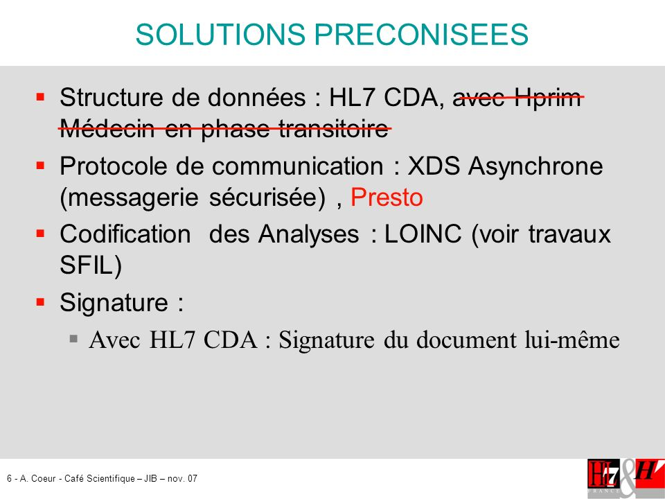 SOLUTIONS PRECONISEES