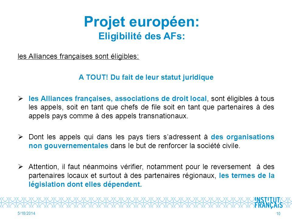 Projet européen: Eligibilité des AFs: