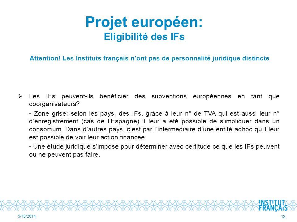 Projet européen: Eligibilité des IFs