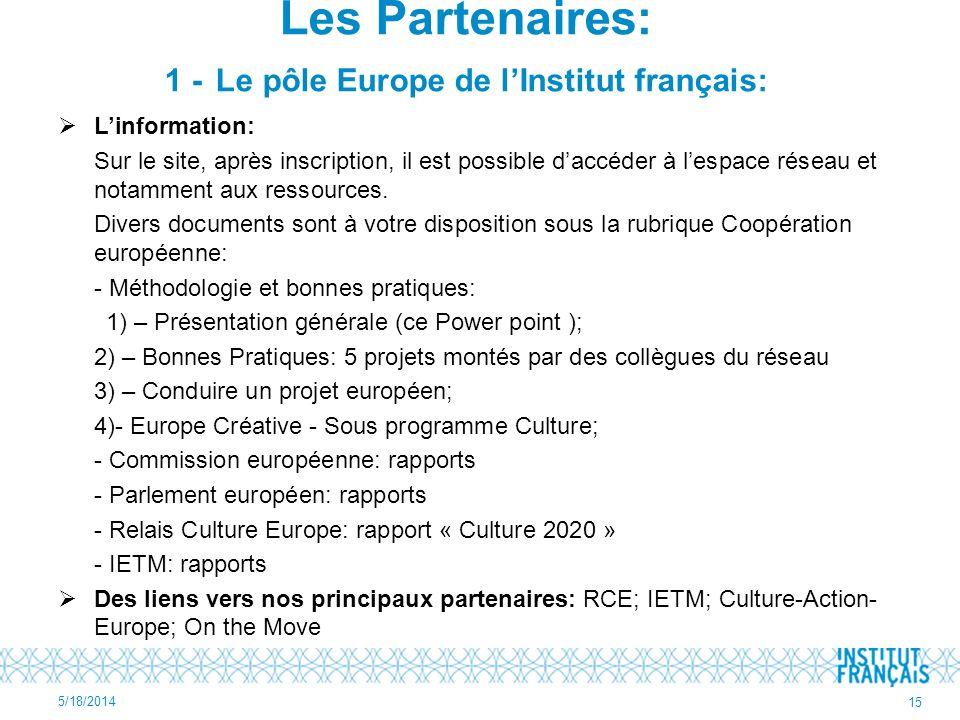 Les Partenaires: 1 - Le pôle Europe de l'Institut français:
