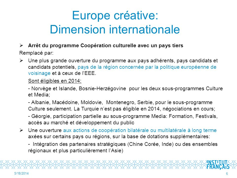 Europe créative: Dimension internationale