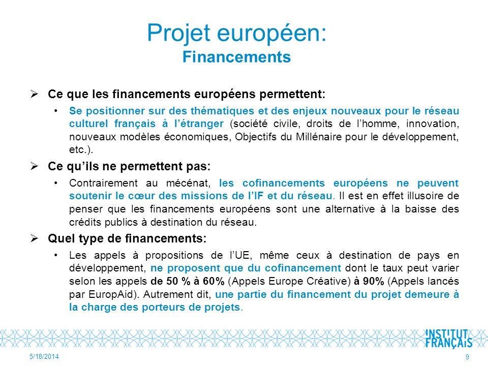 Projet européen: Financements