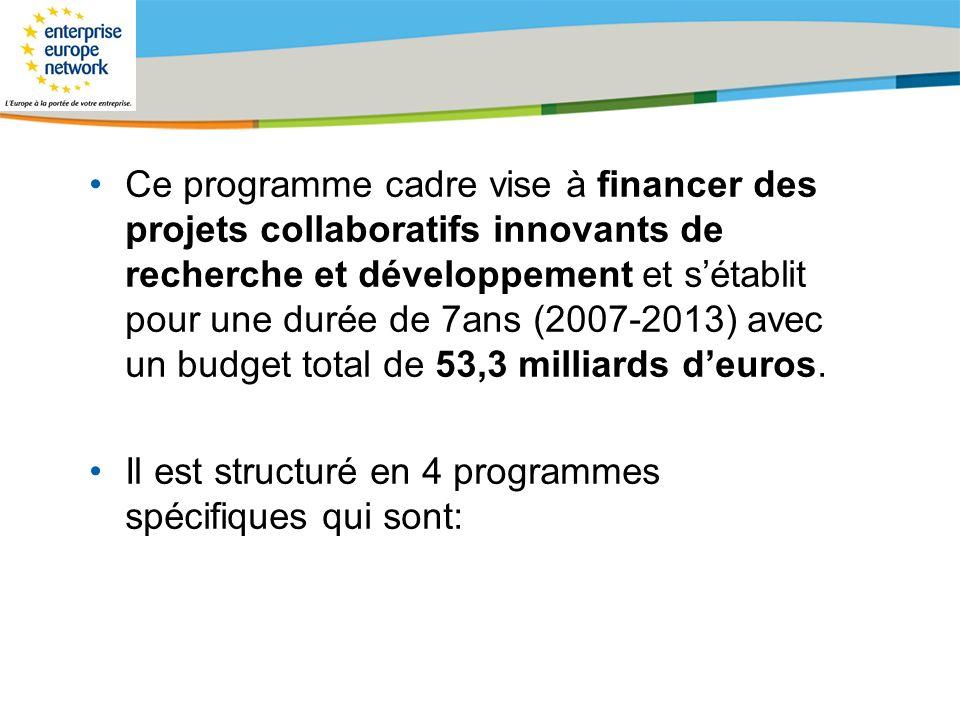 Ce programme cadre vise à financer des projets collaboratifs innovants de recherche et développement et s'établit pour une durée de 7ans (2007-2013) avec un budget total de 53,3 milliards d'euros.