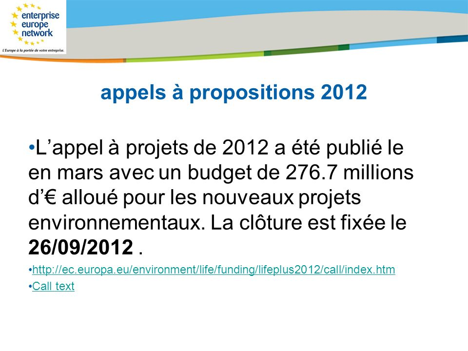 appels à propositions 2012
