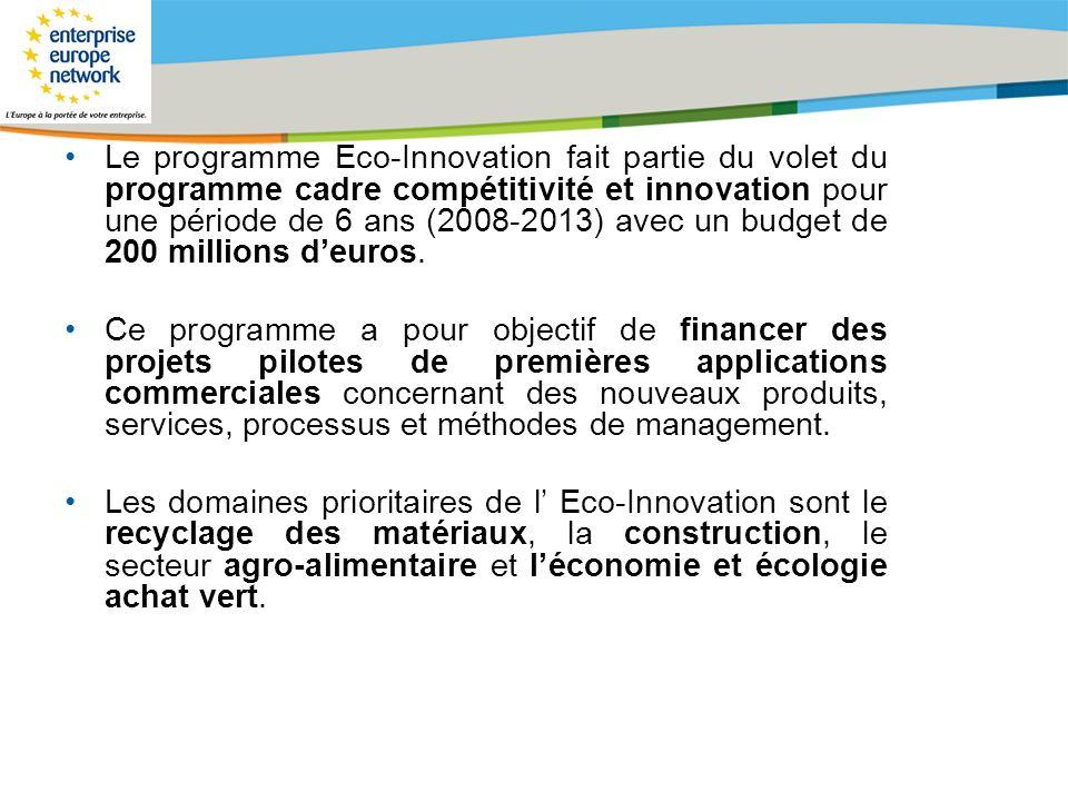 Le programme Eco-Innovation fait partie du volet du programme cadre compétitivité et innovation pour une période de 6 ans (2008-2013) avec un budget de 200 millions d'euros.
