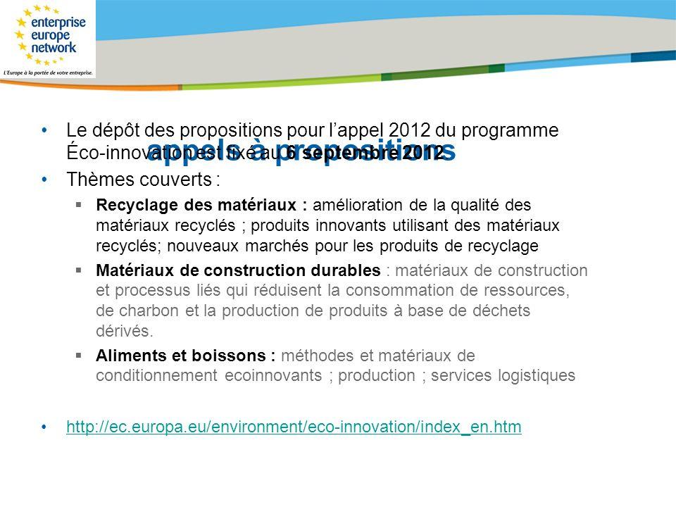 appels à propositions Le dépôt des propositions pour l'appel 2012 du programme Éco-innovation est fixé au 6 septembre 2012.