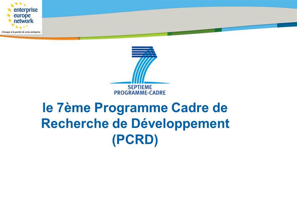 le 7ème Programme Cadre de Recherche de Développement (PCRD)