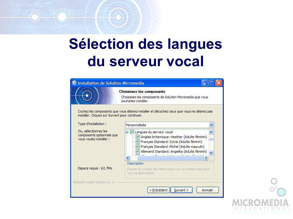 Sélection des langues du serveur vocal