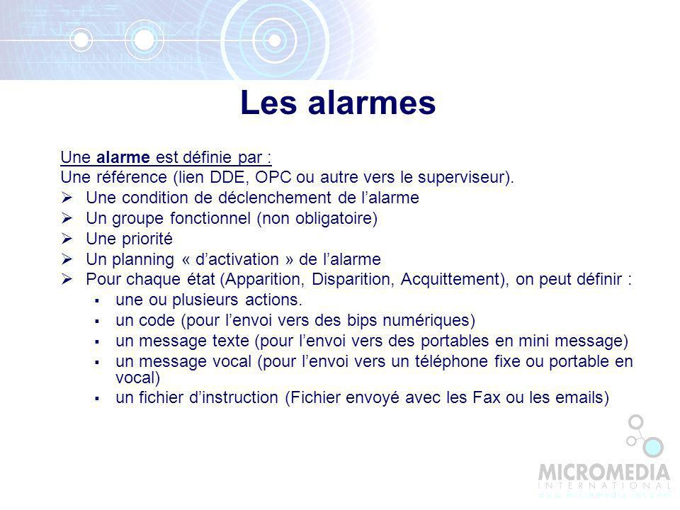 Les alarmes Une alarme est définie par :
