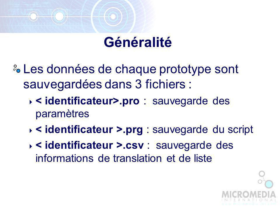 Généralité Les données de chaque prototype sont sauvegardées dans 3 fichiers : < identificateur>.pro : sauvegarde des paramètres.