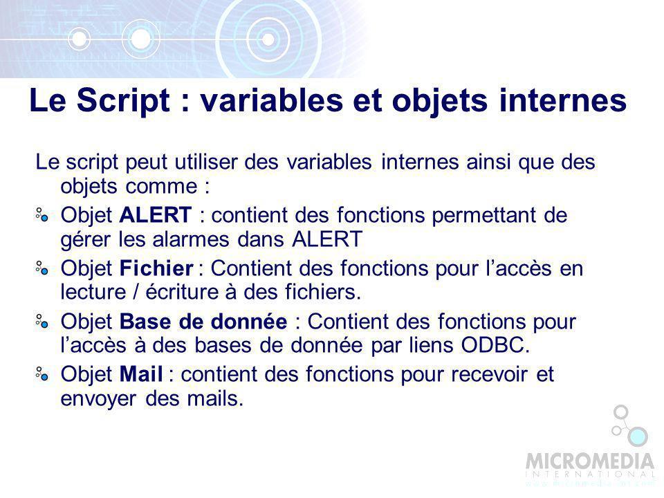 Le Script : variables et objets internes