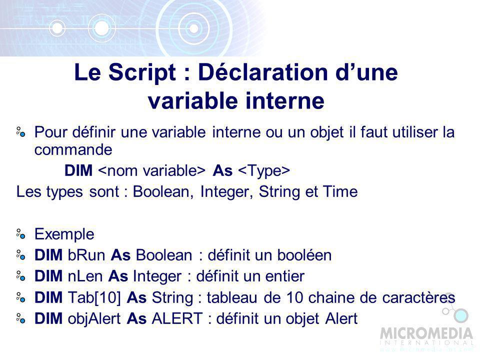 Le Script : Déclaration d'une variable interne