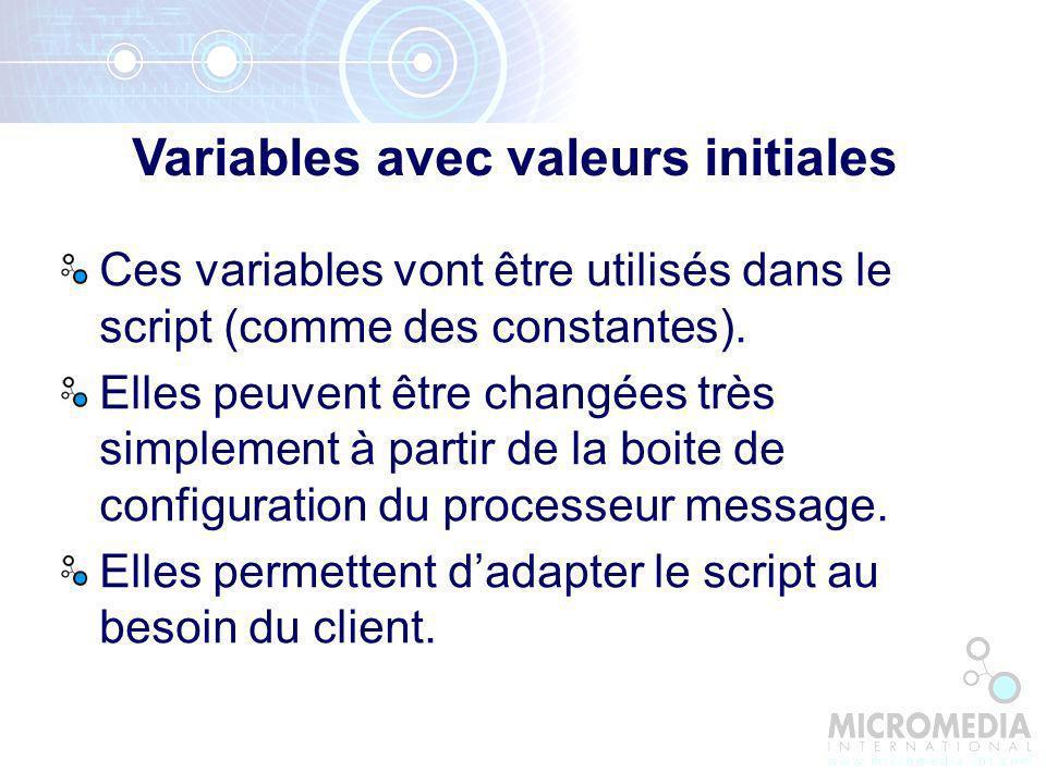 Variables avec valeurs initiales