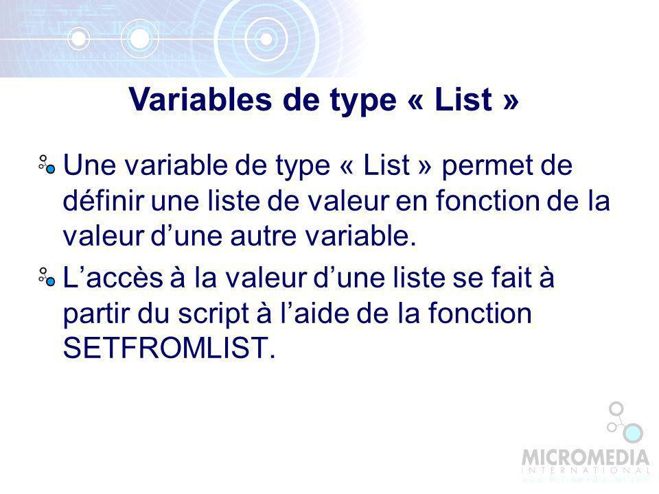 Variables de type « List »