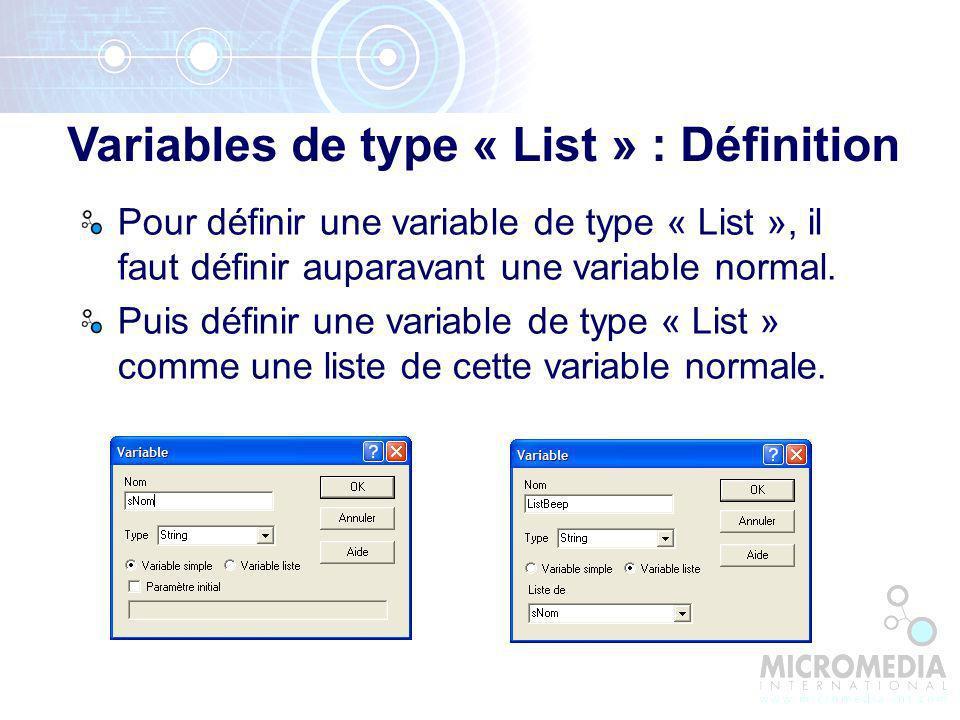Variables de type « List » : Définition