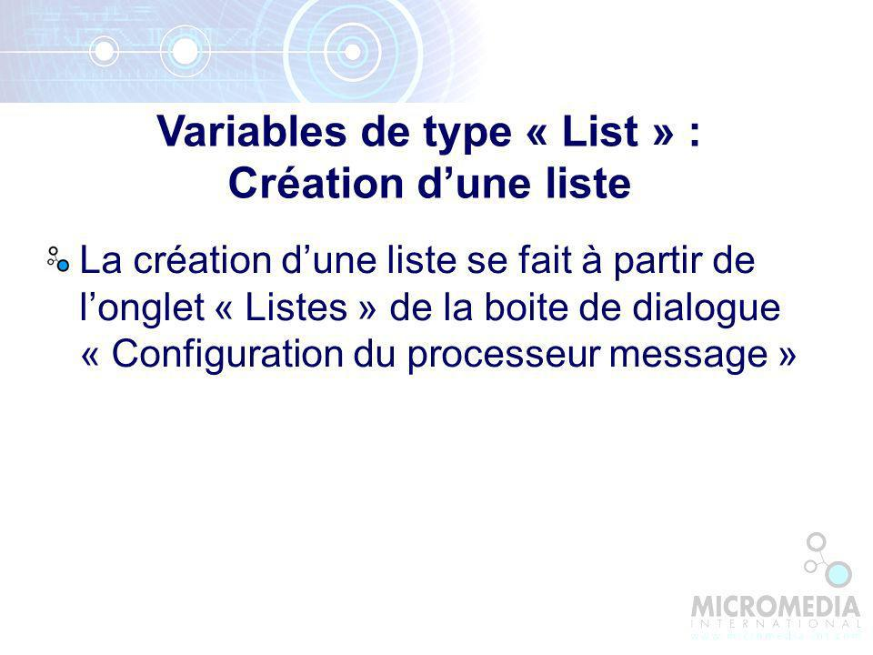 Variables de type « List » : Création d'une liste