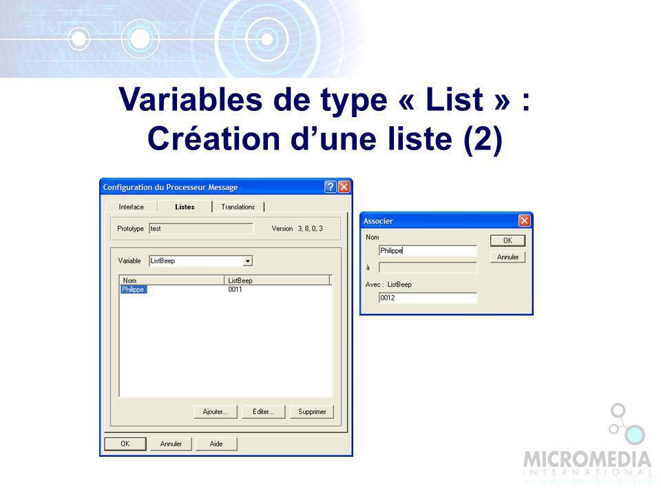 Variables de type « List » : Création d'une liste (2)
