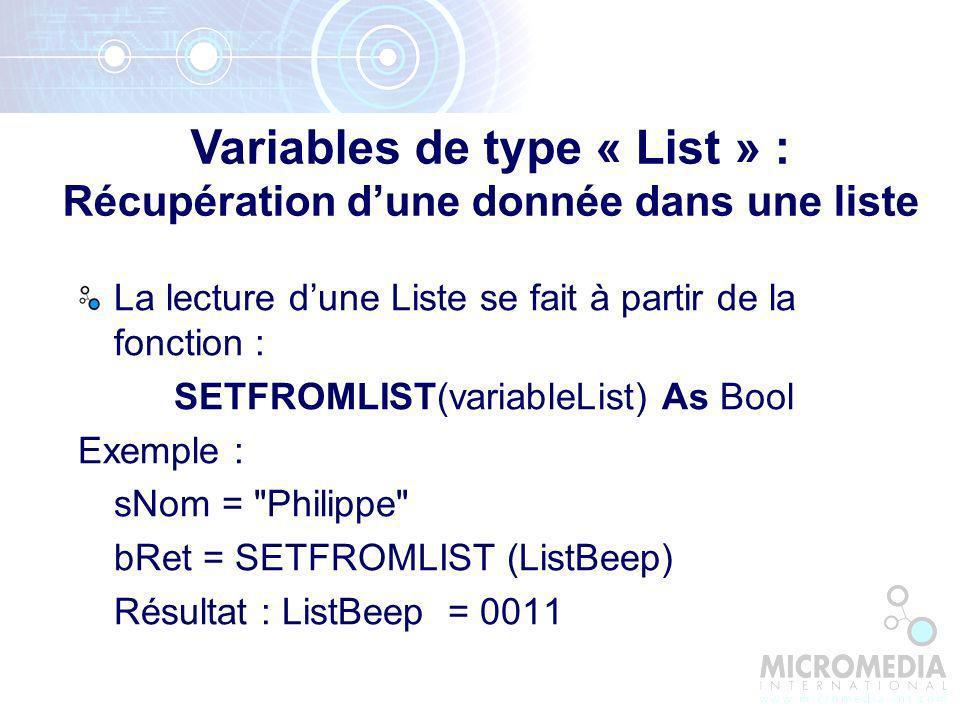 Variables de type « List » : Récupération d'une donnée dans une liste