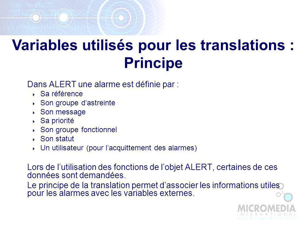 Variables utilisés pour les translations : Principe