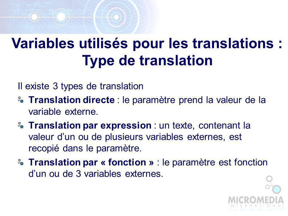 Variables utilisés pour les translations : Type de translation