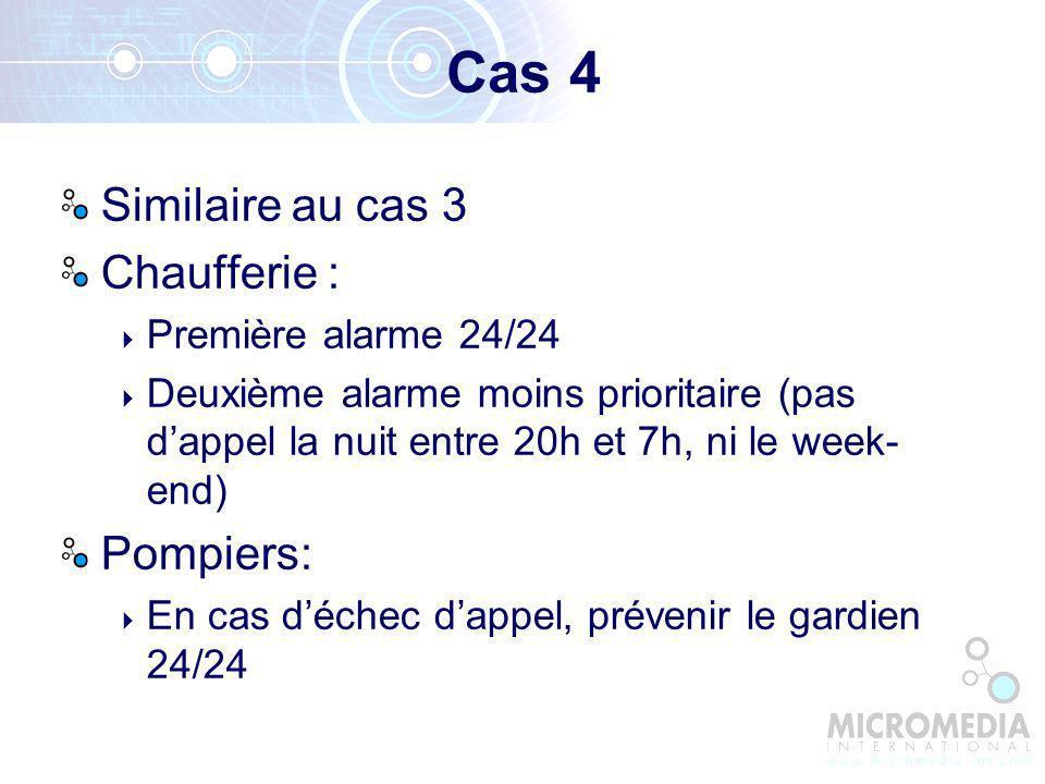Cas 4 Similaire au cas 3 Chaufferie : Pompiers: Première alarme 24/24