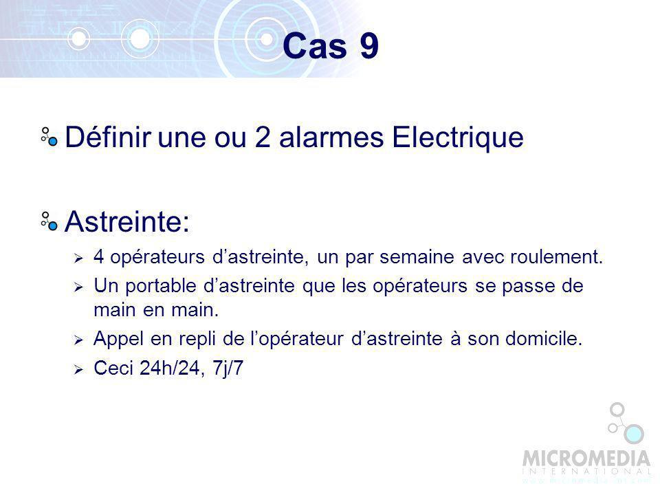 Cas 9 Définir une ou 2 alarmes Electrique Astreinte: