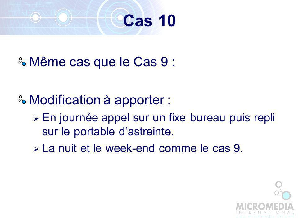 Cas 10 Même cas que le Cas 9 : Modification à apporter :