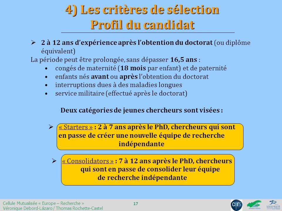 4) Les critères de sélection Profil du candidat
