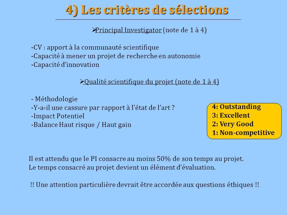 4) Les critères de sélections