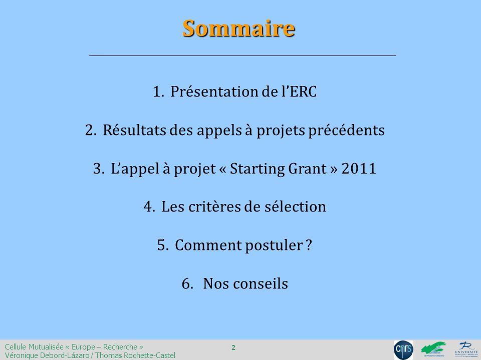Sommaire Présentation de l'ERC