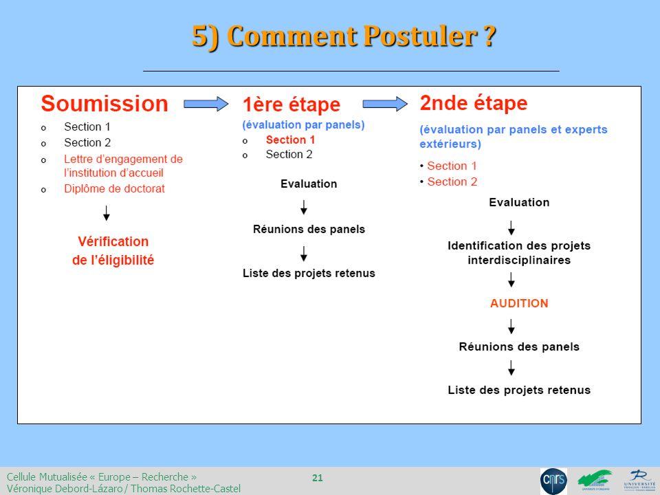 5) Comment Postuler 21 Cellule Mutualisée « Europe – Recherche »